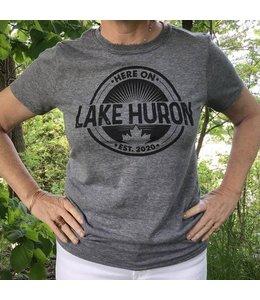 Here on Lake Huron T-shirt -  Driftwood Grey