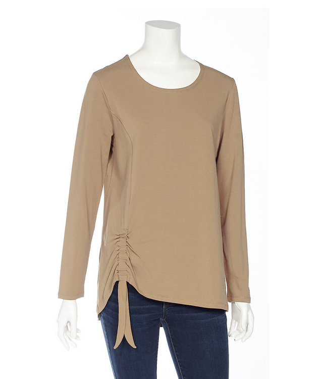 DKR and Apparel L/S Top w Faux Tie Caramel