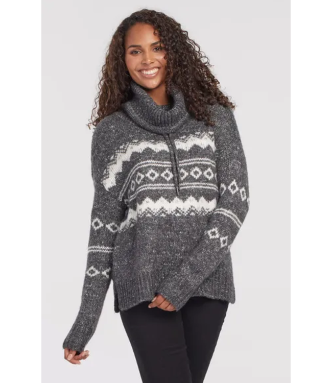 Tribal Jacquard cowl neck-Charcoal