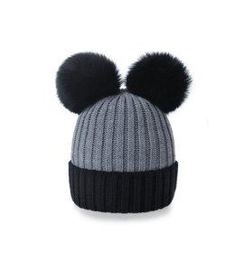Woolk Miki 2 pom pom hat black/grey