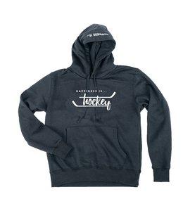 Happiness is... Unisex hockey hoodie -Black