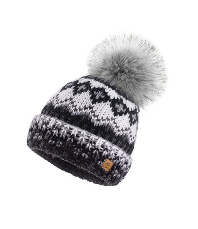 Woolk Multi Coloured Hat w Pom Blk/Gry/Wht