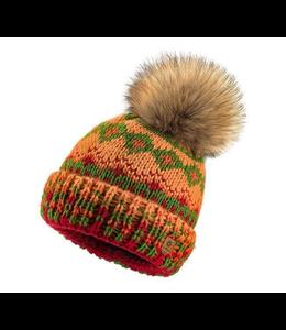 Woolk Multi Coloured Hat w Pom Red/Grn/Yel