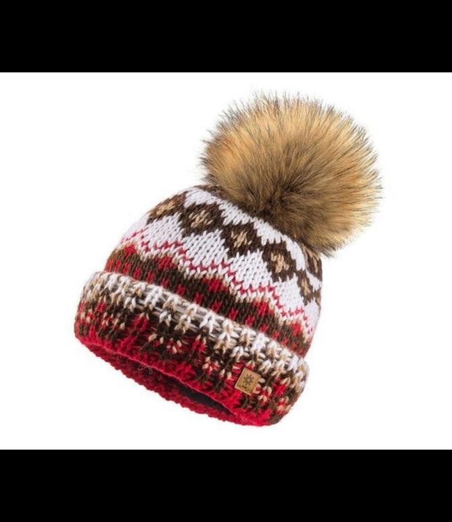 Woolk Multi Coloured Hat w Pom Red/Brn/Wht