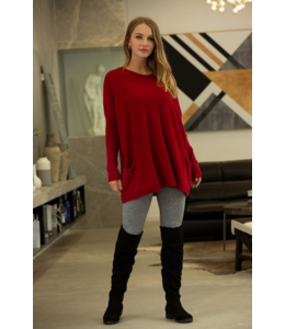 Orange Cashmere feel boatneck tunic-Wine