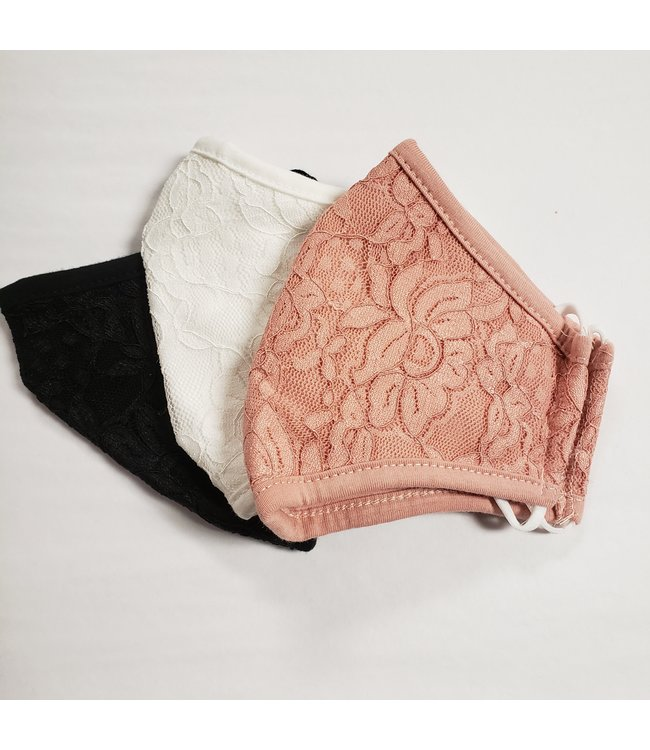 Point Zero Masks 3 pack- Lace, pink, black , white