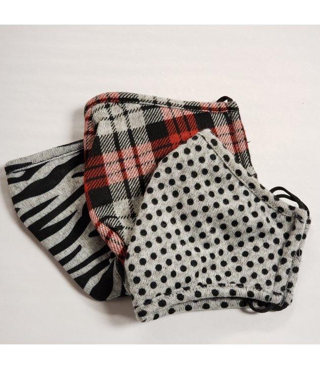Point Zero Masks 3 pack- polka dot, red plaid , stripes