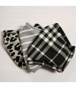 Point Zero Masks 3 pack -Plaid, stripes , black leopard print