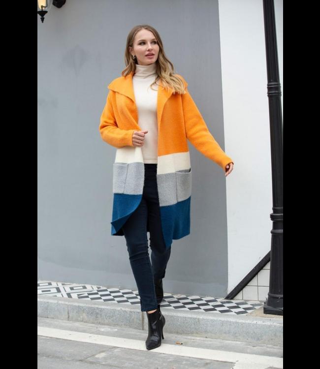Orange Knitted Luv Coat Orange