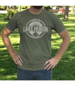 Here on Lake Huron T-shirt - Dirty Martini Green