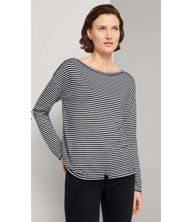 Tom Tailor Striped pullover w/strings navy
