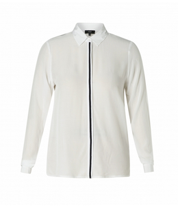 Yest Gwenny long sleeve white blouse w/black detail