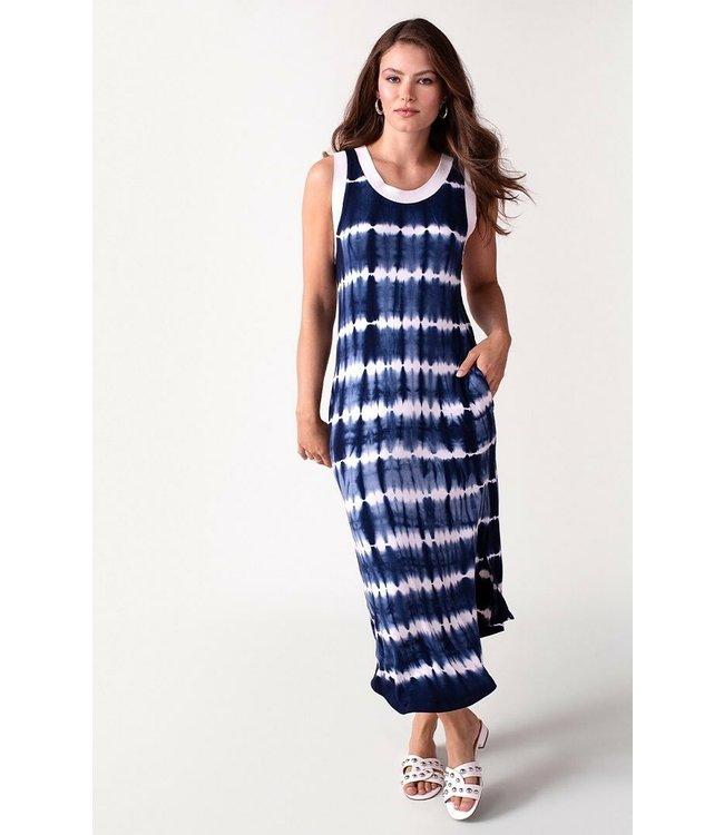 Tribal Sleeveless tye dye dress-Indigo