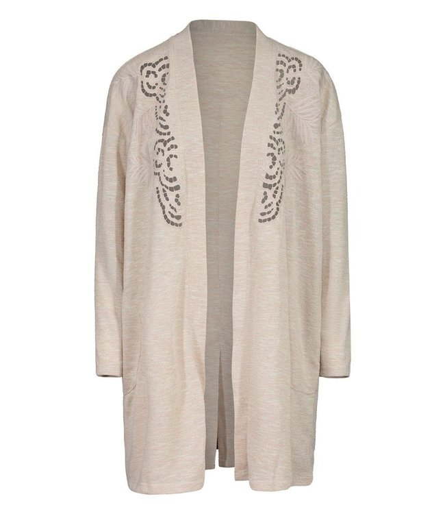 Tribal  Embroidered Cardi with pockets- Almond