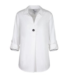 Tribal Accent Button Stretch Shirt -White