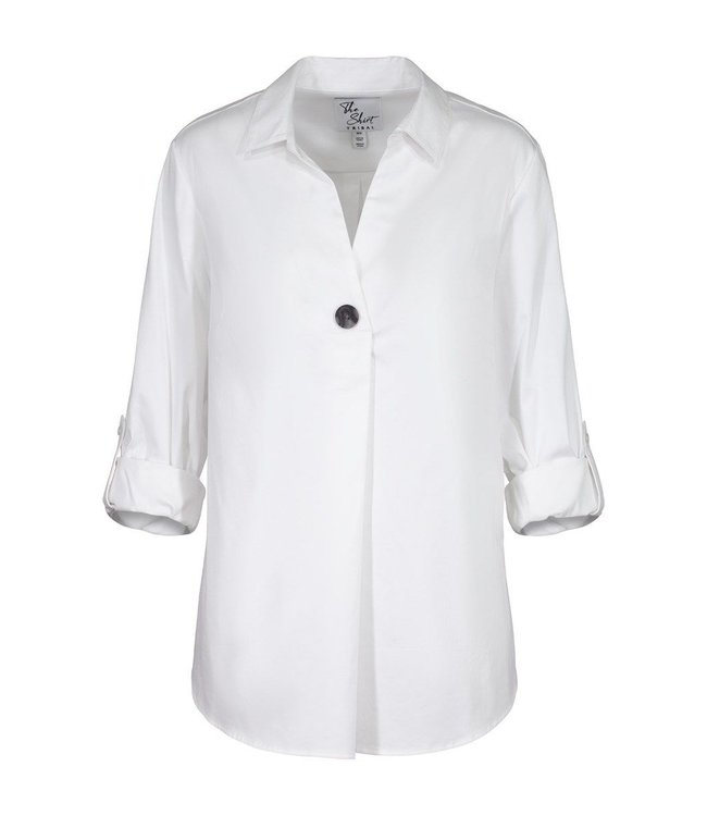 Tribal Accent Button Stretch Shirt- White