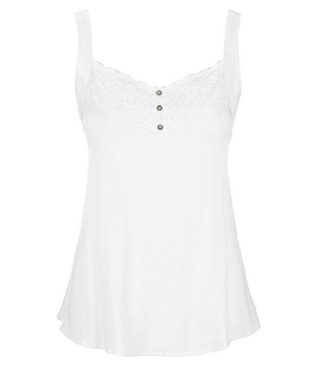 Tribal Lace Panel Tank White