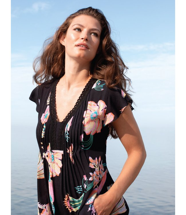 Tribal Flutter sleeve with crochet trim dress- Coral fizz