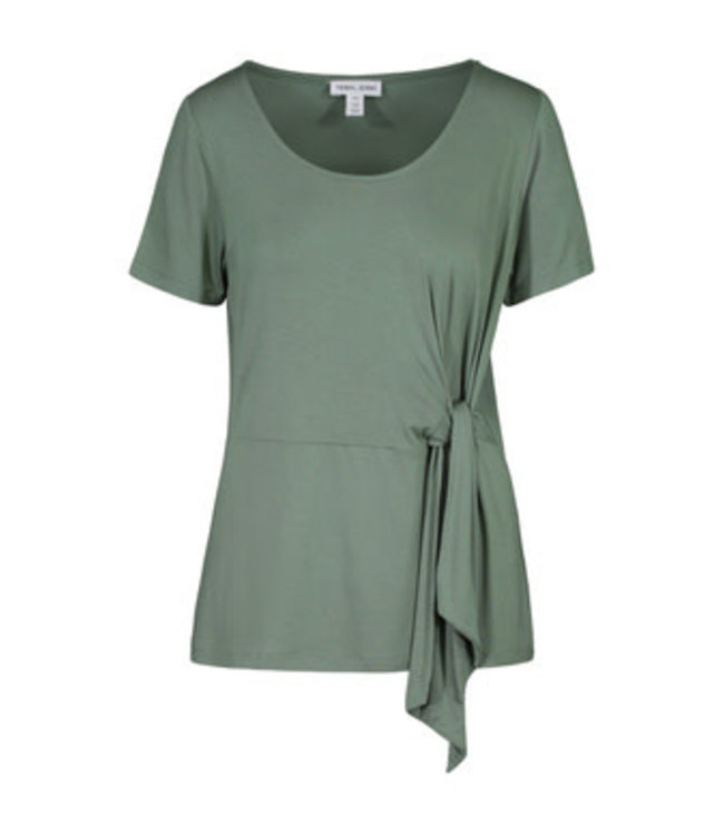 Tribal Short sleeve top with side tie -Palmgreen