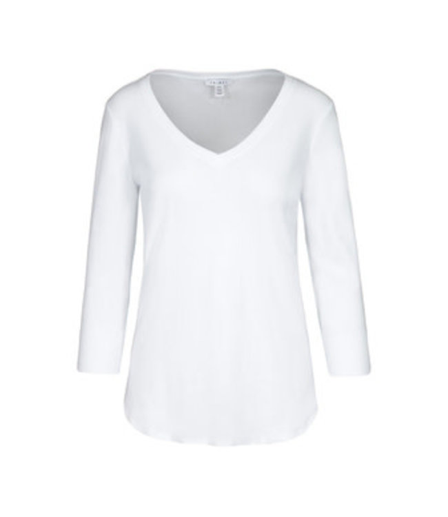 Tribal 3/4 Sleeve with  V Neck Top - White