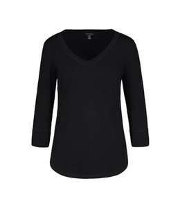 Tribal 3/4 Sleeve with  V Neck Top - Black