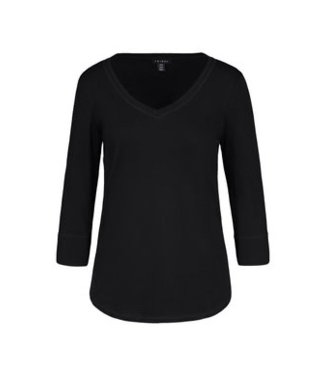 Tribal 3/4 Sleeve with V Neck Top -Black