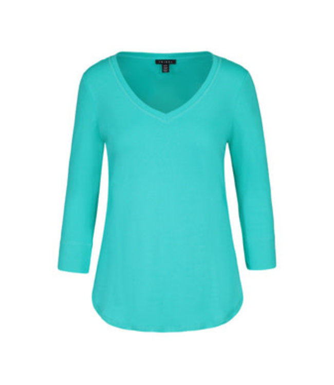 Tribal 3/4 Sleeve with  V Neck Top - Jade