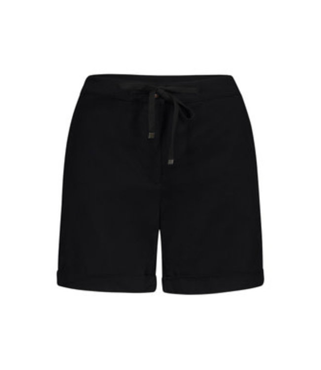 Tribal Fly front shorts with cuffs - Black