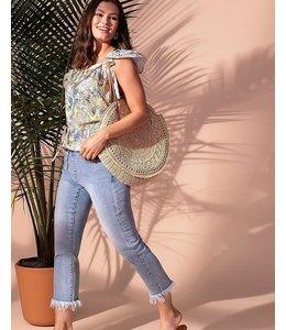 Tribal Audrey Pull On Street Crop jeans-  Desertblue
