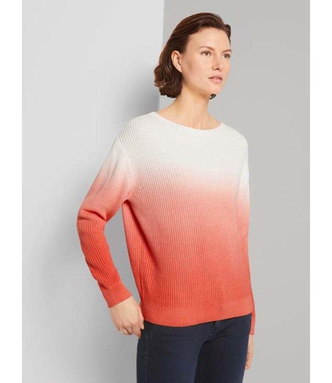 Tom Tailor Dip-dye pullover- Coral