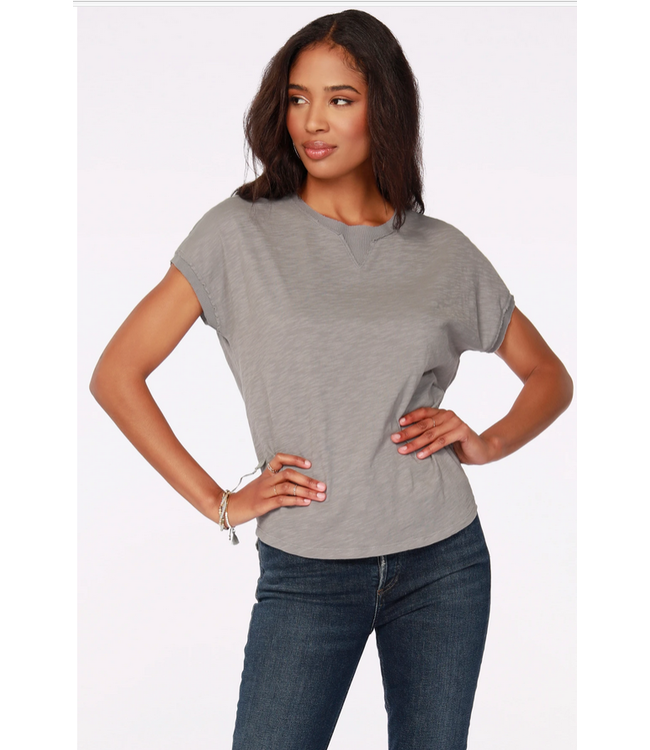 Rib Trim Short sleeve Top Overcast