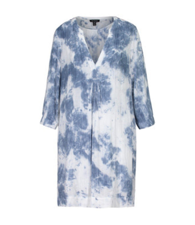 Tribal 3/4 Sleeve with  Notch Collar Dress Deep Blue