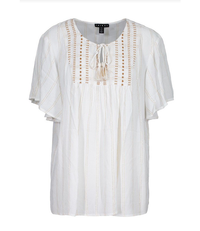 Tribal Flutter sleeve blouse with tassels- white