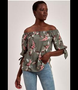 Point Zero Off shoulder floral blouse- Khaki