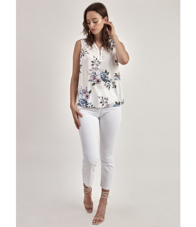 Point Zero Front zip floral tank top- Off White