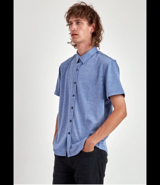 Point Zero men S/S Pattern Knitted Shirt Lake
