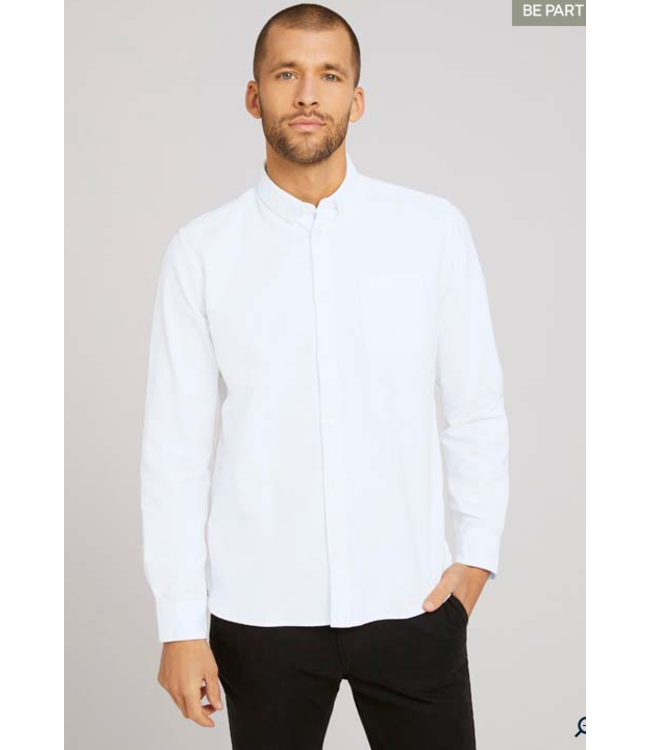 Tom Tailor L/S Oxford shirt- White