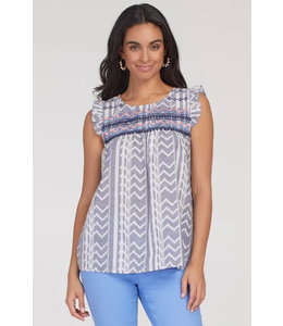 Tribal Baby Doll Top- Fountain