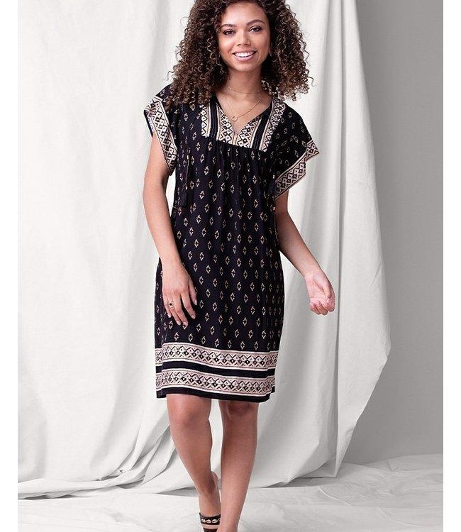 Tribal Flutter sleeve dress with tassels