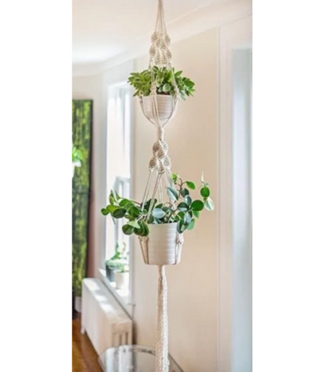 Earthly Basics Double Plant Hanger- Natural