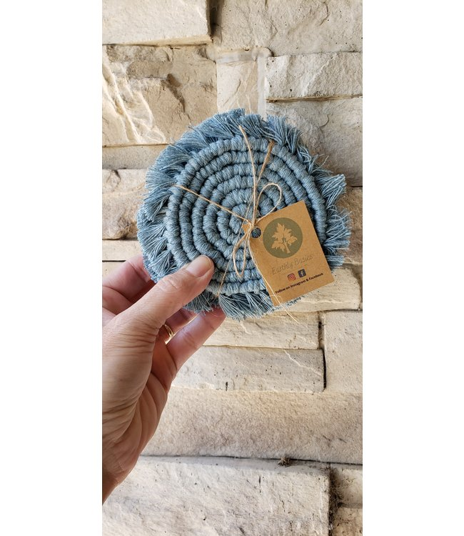 Earthly Basics Coasters 4 Pack- Duck Egg Blue