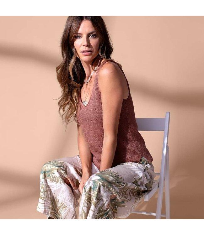 Tribal Pull on cropped plazzo pants-Safari