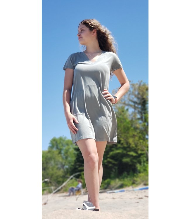 Short sleeve Pocket Dress Sage