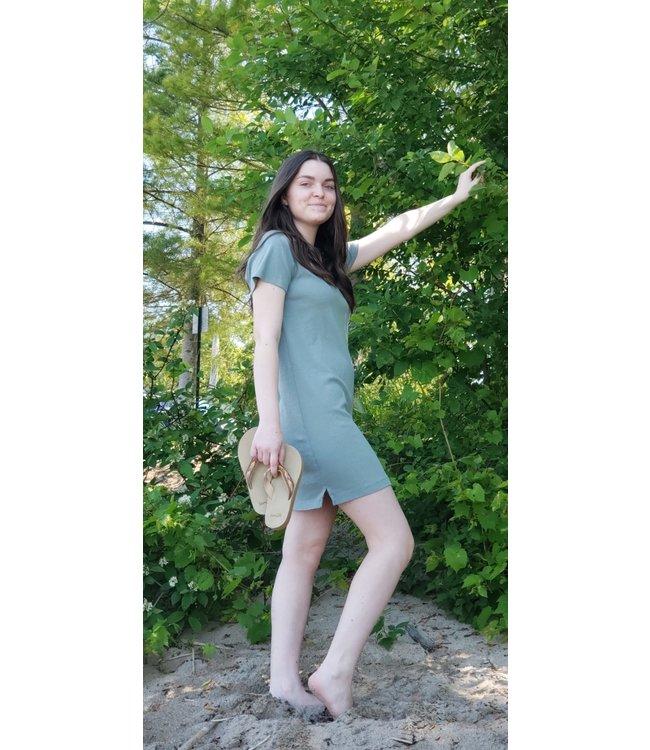 Short sleeve t-shirt dress- Sage