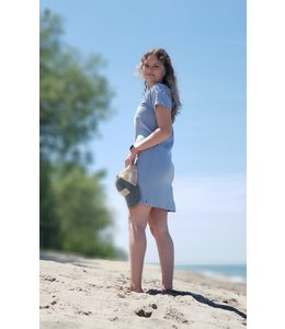 Short sleeve t-shirt dress -Water