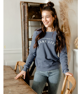 Happiness is... Lake Life crew neck sweater- blue