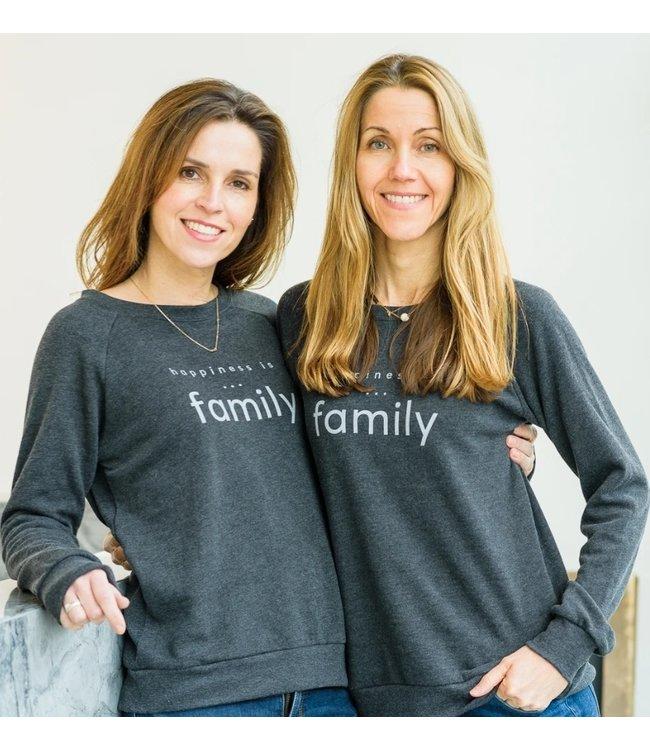 Happiness is... Women's Family Crew sweatshirt-Charcoal