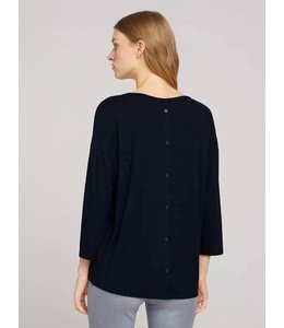Tom Tailor T-Shirt Structure w Placket Navy