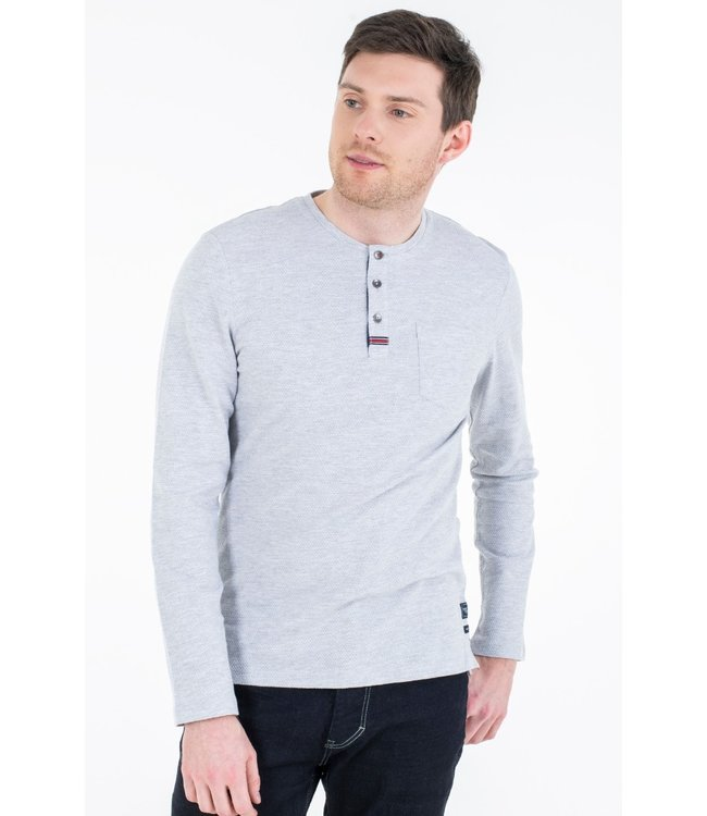 Tom Tailor L/S 3 Button Henley - Grey