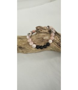 Kristin's Beads Essential Oil Bracelet-Pink Zebra Jasper